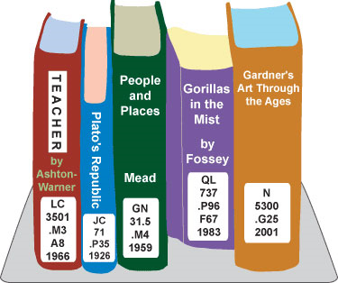 Image of books in LC call number order