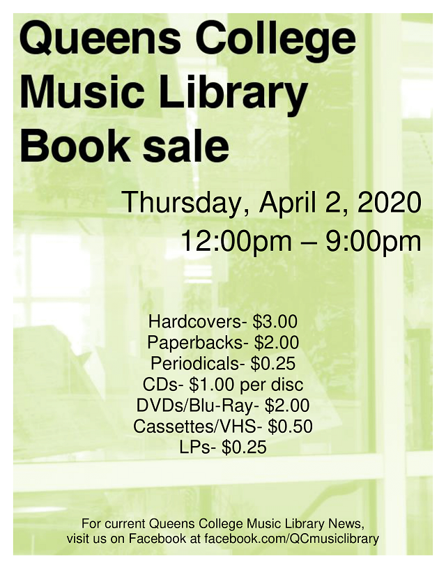 April 2: Music Library Book Sale